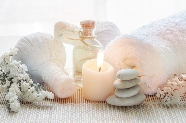 spa treatments set with herbal compressing ball oil bottle candles towel 44344 1218
